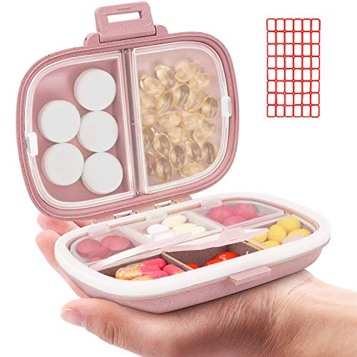 Daily Pill Organizer, 8 Compartments Portable Pill Case, Pill Box to Hold Vitamins, Cod Liver Oil (2-Pink)