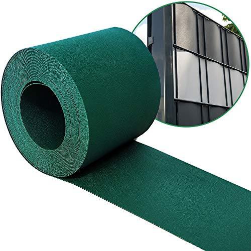 Sichtschutzstreifen PP für Doppelstabmatten - grün - Hemmdal - Stärke von 1,1 mm - Zaun Sichtschutz 35 m Doppelstabmattenzaun hart