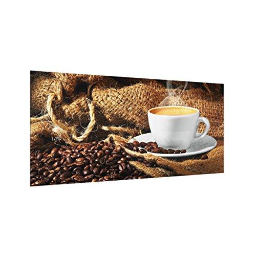 Bilderwelten Spritzschutz Glas - Kaffee am Morgen - Quer 1:2, HxB: 40cm x 80cm