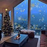decalmile Stickers Muraux de Noël Flocons pour Fenêtre Vitrine Vitre Autocollant Mural Decoration de Noël (Argent et Or)