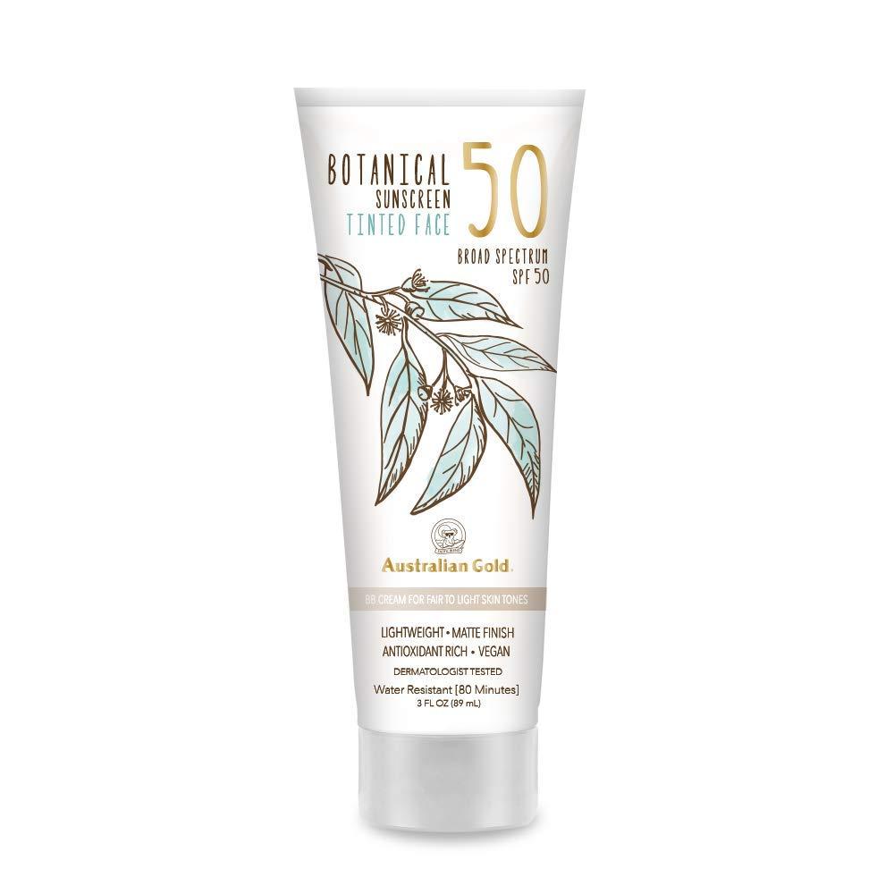 NEW Australian Gold Botanical Sunscreen Tinted Face BB Cream SPF 50, 3 Ounce | Fair-Light | Broad Spectrum | Water Resistant | Vegan | Antioxidant Rich | Same formula as Original Botanical SPF 50 Tinted Face Lotion