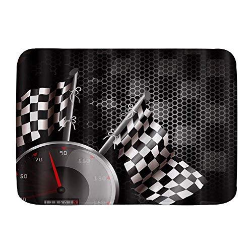 """AIKIBELL Alfombra de baño Alfombra Antideslizante,F1 Car Racing Blanco Negro,Alfombras Modernas de Microfibra para baño Alfombra de baño Suave 29.5""""X 17.5"""""""