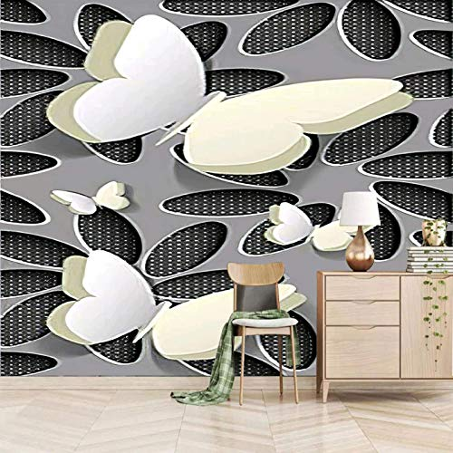 Photo Wallpaper Forest Trees Fleece Wallpaper 350x245cm White fashion animal butterfly Self-adhesive mural Wall Arts Nursery Living Room Bedroom Office Corridor Decoration Murals Modern Wall Decoratio