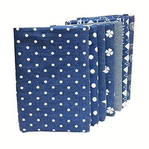 ZAIONE 7 unidades de 48 cm x 48 cm, tela de algodón 100 % para manualidades, cubierta facial, tela vaquera, tela de patchwork, tela de costura