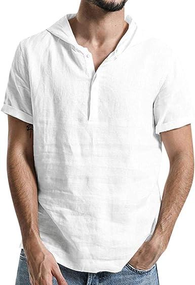 Camiseta Hombre Verano,Algodón y Lino Manga Corta Color ...