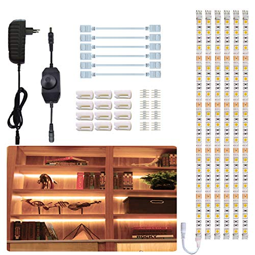Tesfish strisce LED, 6PCS x 50 cm 3 metri bianco caldo 3000K sotto la luce dell'armadietto, luce dello scaffale, impermeabile con alimentatore e dimmer per cucina, armadio, decorazioni per la casa