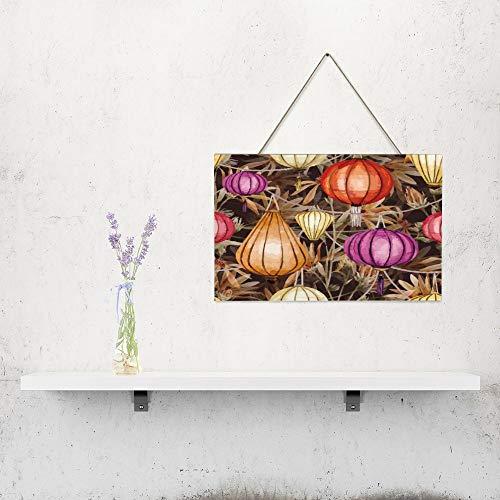 Free Brand Lanterne en bois à suspendre au mur - Décoration murale en bois - 25,4 x 40,6 cm