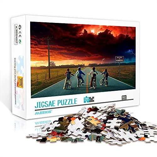 WJHXYD Rompecabezas para Adultos 1000 Piezas Stranger Things Color Puzzle 1000 Piezas Juego Educativo para Adultos y niños Alivio del estrés 75x50cm