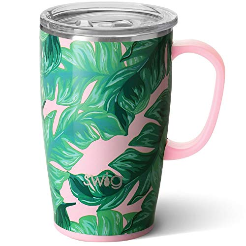 Swig Life 18oz Travel Mug with Handle and Lid, Stainless Steel, Dishwasher Safe, Cup Holder...