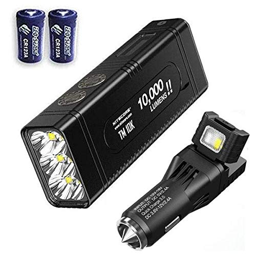 Combo NITECORE TM10K TYPE-C Rechargeable Flashlight - 10,000 Lumen Burst Output -Battery Included w/VCL10 Multi-Tool/Car Adapters +2x Free Eco-Sensa CR123A Batteries