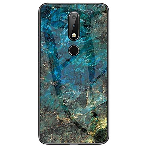BINGRAN Nokia 4.2 Hülle,Marmor Motiv Gehärtetes Glas Rückendeckel + Weiche TPU Silikon Stoßstange Stoßdämpfung Schutzhülle Handy Hülle für Nokia 4.2 5.71