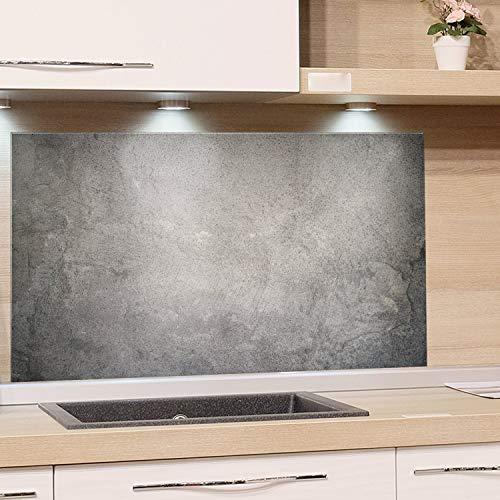 GRAZDesign Spritzschutz Glas Granit Grau Marmor, Glasbild als Küchenrückwand - Küchenspiegel - Wandschutz Küche Herd / 80x50cm