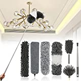 JIAHZ Microfiber Duster,7 PCS Feather Duster Cleaning Kit with 100 inches Extension Pole,Reusable Bendable Cobweb Dusters for Cleaning Ceiling Fan,Car,Computer,Blinds,Furniture
