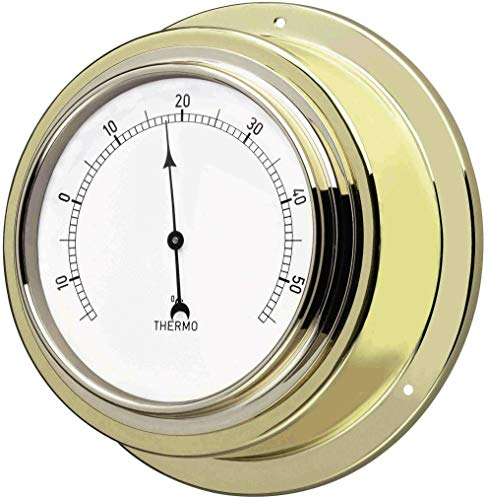 TFA Dostmann Analoges Thermomter Maritim, 19.2015, aus Messing, Kontrolle der Raumtemperatur, goldfarbend