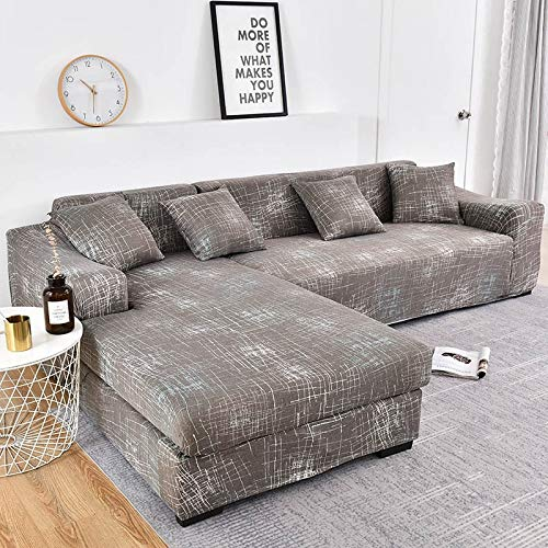 WXQY Fundas Estampadas a Cuadros Funda de sofá elástica elástica Funda de sofá con protección para Mascotas Funda de sofá con Esquina en Forma de L Funda de sofá con Todo Incluido A17 de 3 plazas