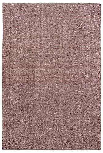 Morgenland Kelim Teppich FANCY Braun Einfarbig Uni Wollteppich Kurzflor Handgewebt 200 x 80 cm...