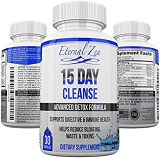 15 Day Colon Cleanse Detox Supplements to Help Support Health Longevity 30 Pills with Healing Herbs & Probiotics to Help Improve Digestion for Men & Women - Support Woman Owned USA Family Business
