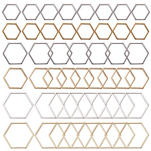 SUNNYCLUE 48個3サイズ レジン フレーム チャーム フレームパーツ セット 幾何学 空枠 ピアス レジン 枠 チャーム イヤリング パーツ 六角 ゴールド色 シルバー色 ステンレス UVレジン レジン封入 ブレスレット ネックレス レディース