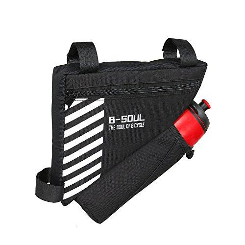 UPANBIKE Fahrrad-Dreieck-Rahmentasche 1.5L Polyester Frontschlauchbeutel Rahmentaschen,Schwarz(Wasserflasche ist Nicht enthalten)