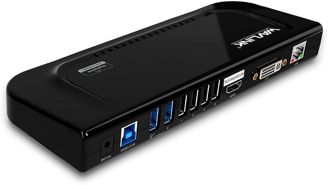 WAVLINK USB 3.0 Universal Docking Station Multifuncional Dual Video Display Outputs HDMI/DVI/VGA/hasta 2048x1152Gigabit Ethernet Audio Output/Input6 Puertos de USB para LaptopUltrabook y PCs