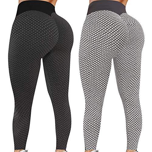 2 Pack TIK TOK Leggings for Women Booty Lift XS-4XL,Womens Ribbed Hip Lift Yoga Pant Capri High Waisted Leggins