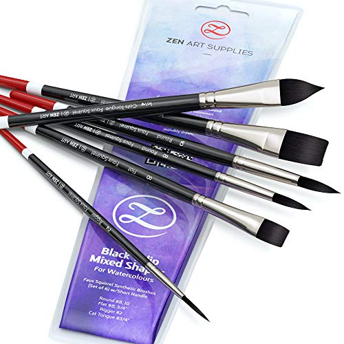 ZenART Watercolor Paint Brushes – Smart 6 pc Black Tulip Short-Handle Watercolor Brush Set for Consistent Flow – Gouache, Watercolors, Fluid Acrylics, Inks - Synthetic Squirrel Hair, Vegan