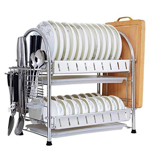 JJYGONG Dish Rack de Acero Inoxidable Estante de Cocina Estante de Plato Estante Estructura de Drenaje Tipo de Cajón Fregadero Hogar Drenaje a Vajilla Seco Accesorios de Cocina Antió