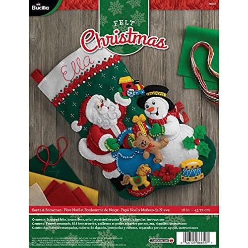Bucilla Kit de calcetín de fieltro con aplique de Papá Noel y muñeco de nieve, 45,72