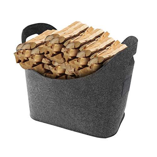 Bolsas de fieltro para leña, cesta de fieltro con asas, plegable, cesta...