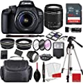 Canon EOS 4000D DSLR Camera with 18-55mm f/3.5-5.6 III + Professional Accessory Bundle with 64GB Sandisk Memory by Canon Intl.