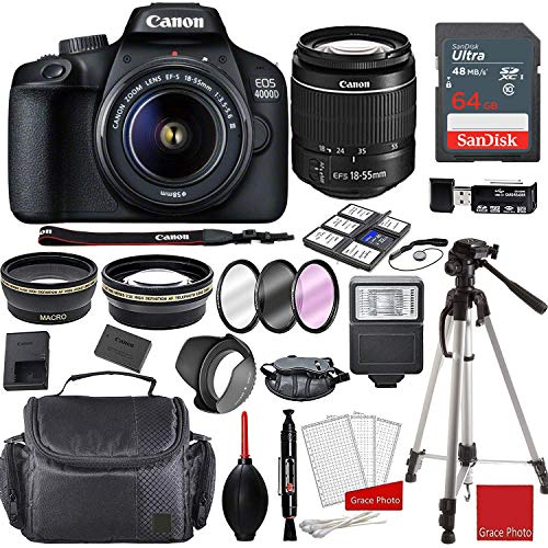 Canon EOS 4000D DSLR Camera with 18-55mm f/3.5-5.6 III + Professional Accessory Bundle with 64GB Sandisk Memory