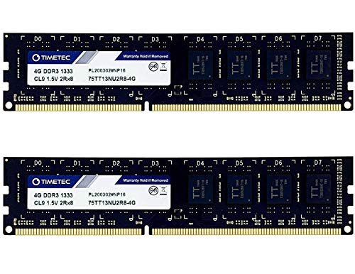 Timetec Hynix IC 8GB Kit (2x4GB) DDR3 1333MHz PC3-10600 Non ECC Unbuffered 1.5V CL9 Dual Rank for Dell Optiplex 780 DT MT SFF Memory Ram Upgrade and More (Low Density 8GB Kit (2x4GB))