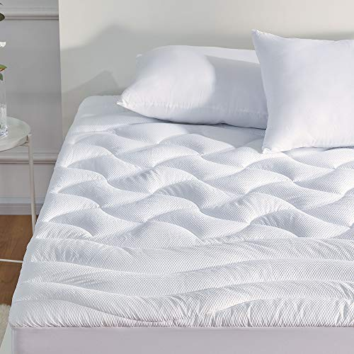 SLEEP ZONE Premium Mattress Pad Cover Cooling Overfilled Fluffy Soft Topper Zone Design Upto 21 inch Deep Pocket with Athletic Grade Elastic Skirt, White, King