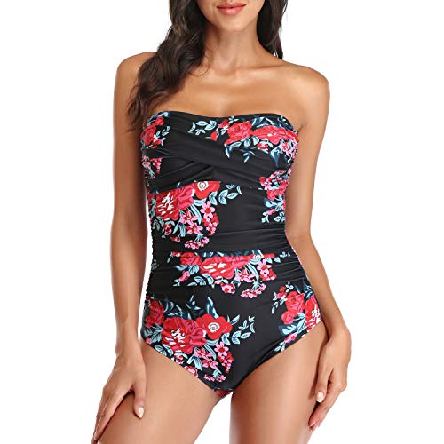 Smismivo Tummy Control Swimwear Black Strapless One Piece Swimsuit Ruched Padded Bathing Suits Women Slimming Bandeau Bikini (Floral Red, Medium)