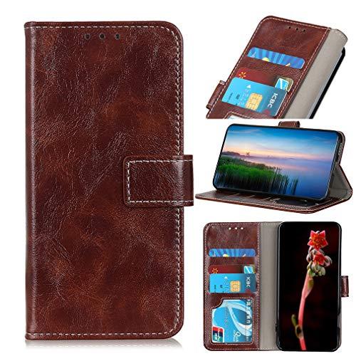LMFULM® Hülle für LG V60 ThinQ 5G (6,8 Zoll) PU Leder Magnet Brieftasche Lederhülle Retro Crazy Horse Muster Stent-Funktion Ledertasche Flip Cover Kaffee