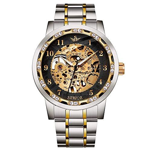 Uhren, Herren Uhren Mechanische Handaufzug Skelett Klassische Mode Edelstahl Kleid Uhr