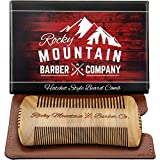 Beard Comb - Sandalwood Natural Hatchet Style for Hair - Anti-Static & No Snag, Handmade Wide & Fine Tooth Contour Brush Best for Beard & Moustache with Carrying Case Pouch