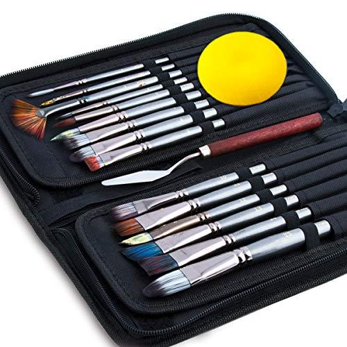 of paint brush cases Transon Art Paint Brush Kit 15pces with Brush Case Sponge Spatula for Oil, Acrylic, Watercolor, Gouache, Painting