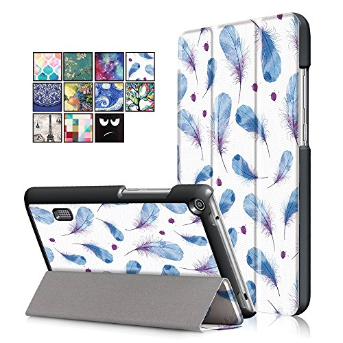 KATUMO. Funda para Huawei T3 7.0 BG2-W09, funda protectora para el pulgar con solapa y pluma azul