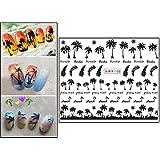 AMhomely® Neu Nail Decal Sticker/Nagelaufkleber - Maniküre-Palmen-Ozean-Wind-tropischer Brandungs-Strand-Kokosnussbaum-Art-Nagel-Aufkleber (2PC)