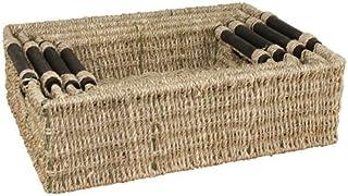 JVL Set de 4 herbiers rectangulaire paniers de Rangement avec en Bois poignées