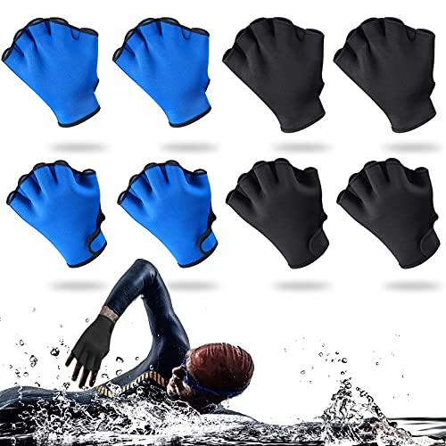 Skylety 4 Pairs Swimming Gloves Swim Training Gloves Neoprene Gloves Webbed Swim Gloves for Helping Upper Body Resistance for Men Women Diving Surfing Pool Exercise (Black, Blue, L)