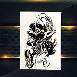 Yyoutop Aerosol Impermeable Skull Skull Gun Etiqueta engomada del Tatuaje Rosa Flor Brazo Tatoo para Hombres Mujeres Body Art Tattoo Pegatinas 3set