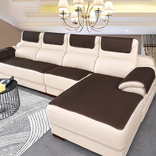 BK&MF Sofa Abdeckung Für Ledercouch, Super rutschfeste Sofa Dämpfung Couch überwurf Für Haustiere, Sofa Möbel Protector Separat Erhältlich-Dunkelbraun 60x150cm(24x59inch)