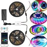 Tira de tira de LED WiFi Dreamcolor, 10M (2 * 5m) RGB 5050 150 * 2 LED tira de tira de luz LED sincronizada con música, compatible con Alexa, Asistente de Google