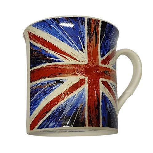 Union Jack Tasse – Spinn-Flagge Design, spülmaschinenfest, mikrowellengeeignet, für Kaffee, Tee, heiße Schokolade, Milch, Cappuccino, Rot, Weiß, Blau, britisches Souvenir aus London, England