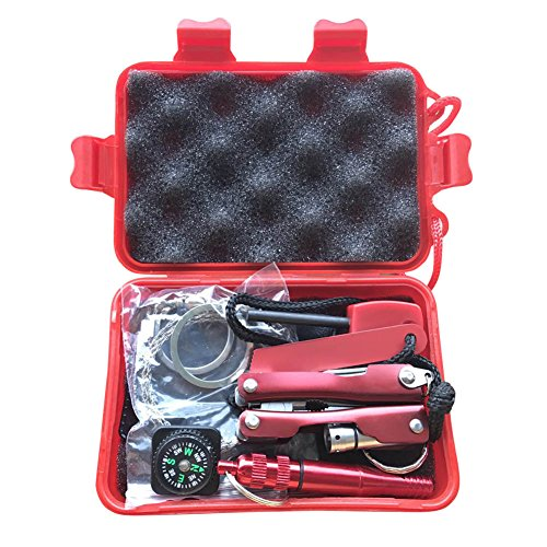 Harwls 1 Set Emergency SOS Kit Car Earthquake Supplies SOS Outdoor Camping Survival Tool Kit with Box