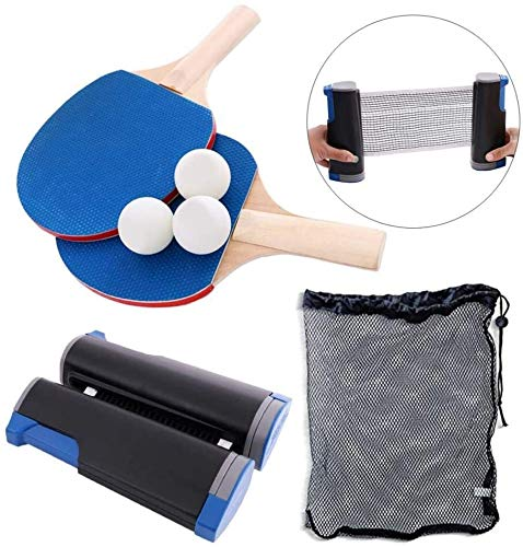 Buy no logo 2 Table Tennis Paddle Rackets, 3 Ball, All in One Complete Portable Table Tennis Set, Re...