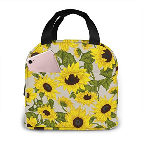 Yellow Sunflower Lunch Tote Bag Green Leaves Zipper-Sealed Leak-Proof Portable Thermal Insulation Bag Front Pocket for Work Travel Picnic Kitchen and Restaurant