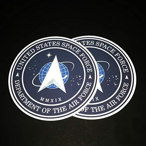 """Ichthusgraphics.com Space Force Decal Stickers 2 pack Reflective 4.5"""" Vinyl – For Bumpers Cars Trucks Laptops Window – Weird Funny Official Logo of USSF – Gift for NASA SpaceX Trump Trek USA Flag Fans"""